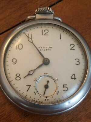 """Vintage Westclox """"Scotty"""" Pocket Watch - Working, sweeping Second Hand Silver"""