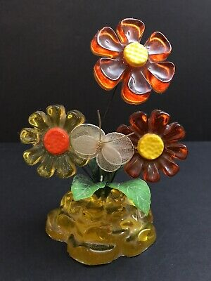 Vtg Retro MCM Lucite Acrylic Flower Butterfly Sculpture New Trends USA 1969