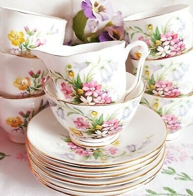 Vintage Bone China 6 Coffee Cups Saucers Queen Anne Old Country Spray Pink Blue