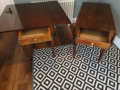 Pair of 19th Century Oak Pembroke Table Drop Leaf Side Occasional Victorian