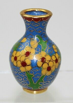 Very Fine 20thC Chinese PRC Vintage Doll House Cloisonne Floral Vase