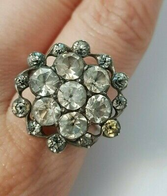 Georgian ring  antique foiled back dot paste glass closed back sterling & gold