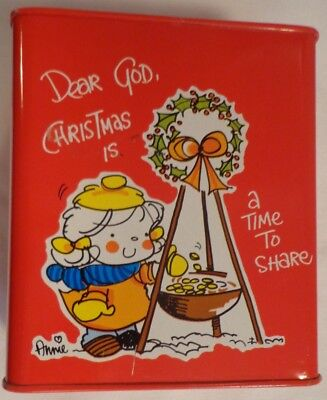 Christmas Is A Time To Share Tin Litho Can Bank Vintage 1984 Annie Dear God Red