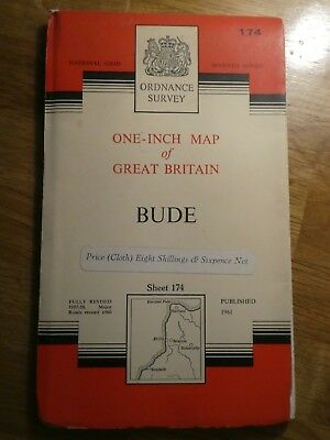 """Bude"" Ordnance Survey Sheet Map No 174 on Cloth 1961 Edition – VGC"