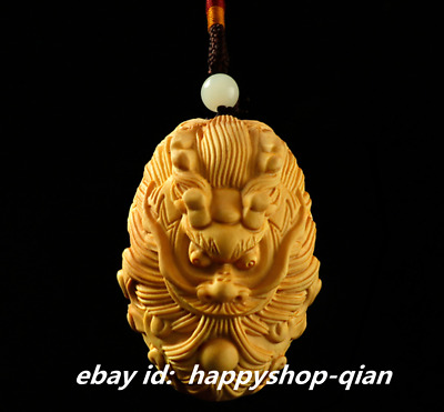 6*4*4.5cm Chinese Box-wood Hand-carved Zodiac Dragon Play Ball Rui Beast Pendant