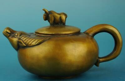 china copper Hand Made statue animal cow antique teapot /qianlong mark d02