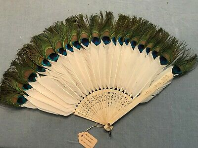 Vintage Peacock Feather Hand Fan