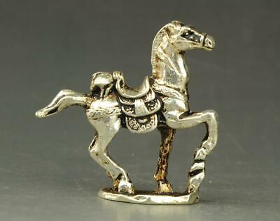 chinese old Tibet silver hand-carved horseback cicada statue a01