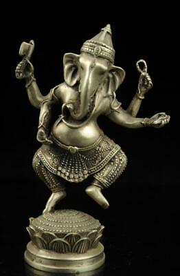 chinese hand carved elephant buddha copper plating silver statue collectible e01