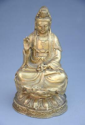 Chinese Buddhism Temple old Copper Sit KWAN-YIN Guan yin Bottle Statue d01