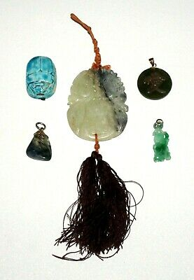 5Pc Chinese/Egypt Mixed Pendant Lot Jadeite, Moss Agate, Steatite, Pottery (Flf)