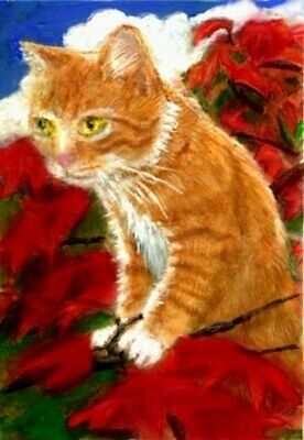 BCB Orange Tabby Cat Climbing Japanese Maple Tree Clouds Original Painting ACEO