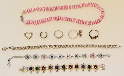 Lot of 9 Jewelry 80s to 90s.  925 Sterling, Puka Necklace, Nice Bracelets, Rings