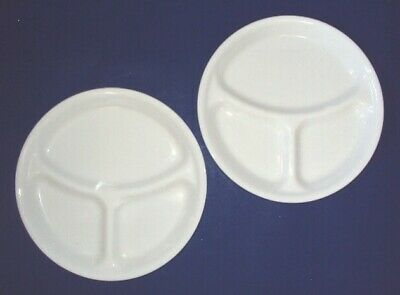 Corning Ware Corelle White Divided Dinner Grill Plates / 10 1/4 Inch ~ Set of 2