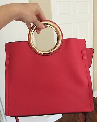 Gold-Tone Magenta/ Fuchsia/ Hot Pink Button Bag with Short and Long Handles