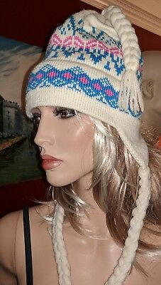 Classic Rare Moriarty 100% Wool Nordic Braided Ski Hat Stowe Vermont Unisex