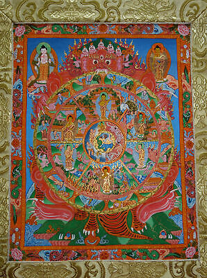 Very Fine Thangka! Wheel of Life of Life I Brocade Nepal 31 1/8x17 5/16in