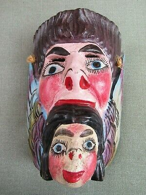 Antique Vintage Wood Hand Carved Theater Two Face Wings Mask Plaque Folk Art