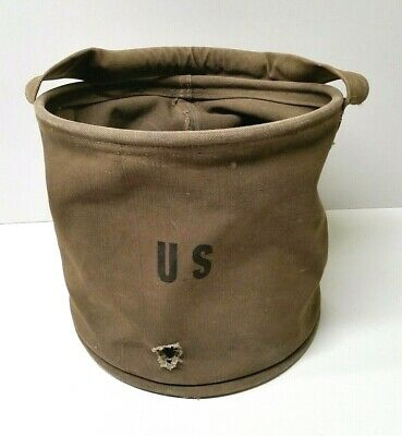 Vintage WWII US Army Canvas Water Bucket, Old WW2 Military Cloth Storage Tote