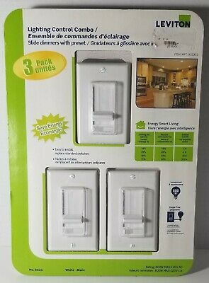 Leviton No. 6621 752-6621-3pk - 300w/600w Sureslide Dimmer - 3 Pack - BRAND NEW