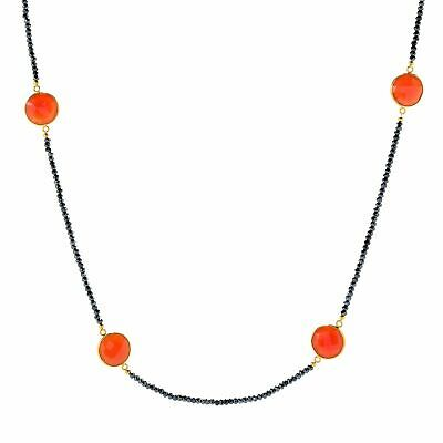 """Victoria Wieck Collection 40"""" Red Chalcedony & Black Spinel Station Necklace"""
