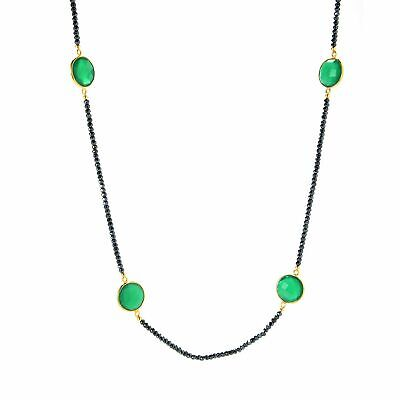 """Victoria Wieck Collection 40"""" Green Chalcedony & Black Spinel Station Necklace"""