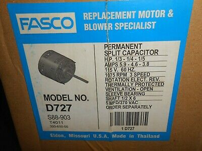 "Fasco D727 5.6"" 1/3-1/5 Horse Power Direct Drive Blower Motor + Capacitor NEW"
