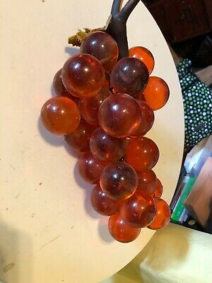 Vtg Large Lucite Acrylic Resin Grape Cluster Wood Stem 28 Balls Amber Orange