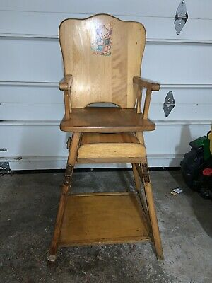 1950's Antique Multi Purpose High Chair And Child's Desk