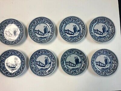 Antique Chinese Porcelain Collection Of 8 Blue And White Plates