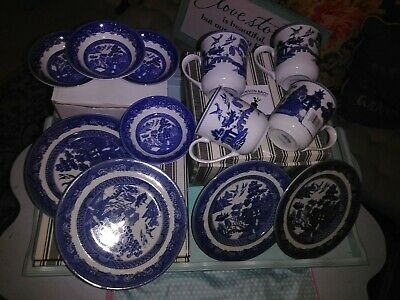Large Lot of Johnson Brothers Blue Willow Coffee Mugs Small Plates Small Bowls