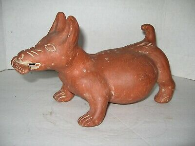 Large Pre-Columbian Colima Terracotta Pottery Dog Sculpture w/Red Slip Glaze