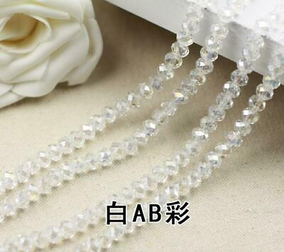 Faceted Rondelle Bicone Glass Crystal Loose DIY Beads Assorted 4mm 71pc White AB