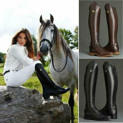 Women Horse Riding Boots Smooth Leather Knee High Boots