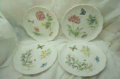 LENOX BUTTERFLY MEADOW DINNER PLATES SET OF 4 11in DRAGONFLY FINE BONE CHINA a d