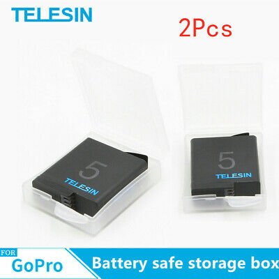 TELESIN 2Pcs Battery Safe Storage Box For Gopro Battery Action Sports camera US