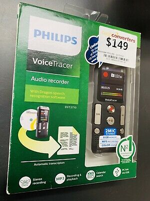 NEW PHILIPS Voice Tracer Digital Recorder w/2 Mic Stereo Recording 8GB DVT2710