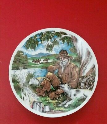 Swagman Plate  - Waltzing Matilda on the back - Fine China - Collectors plate