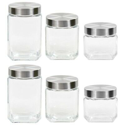 6x Multi Size Storage Jam Jars Clear Glass Candy Container Canisters Tapas