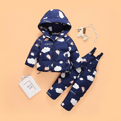 Kids Boys Girls Toddler Snowsuit Puffer Hooded Down Jacket Coat Outfits Xmas