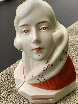 Art Deco Lady Bust/Bookends Pottery