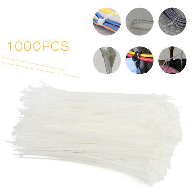 "8"" inch White Network Cable Cord Wire Tie Strap 50 Lbs Zip Nylon 1000 PCS Pack"