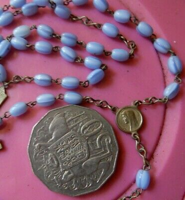 Estate 1950s Vintage Rosary glass Cats eye beads Necklace -2 post all FREE
