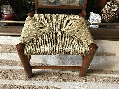 Art And Crafts Oak Footstool Stool New Woven Rush Seat Country Rustic