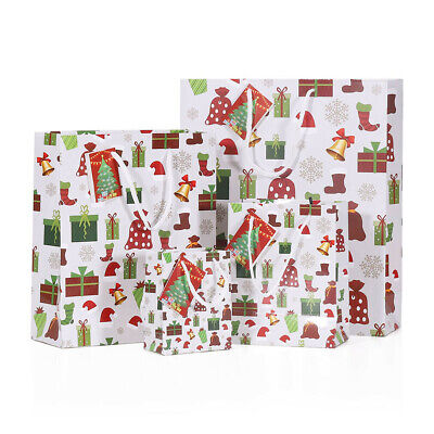Pack 6 Xmas Twist Handle Paper Party Gift Carrier Bag / Bags With Rope Handles