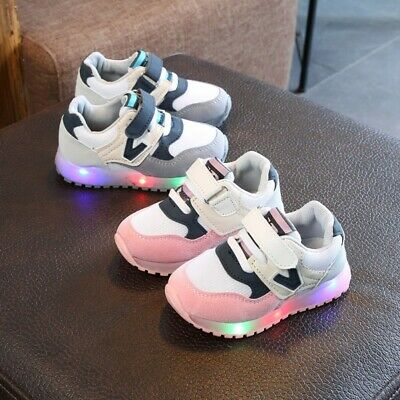 Toddler Baby Kids Girls Shoes LED Flashing-Trainers Casual Light Up Sneakers UK