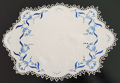 VINTAGE 1950's - 60's, DOILEY ~ BLUE / CREAM EMBROIDERY & CROCHET EDGING