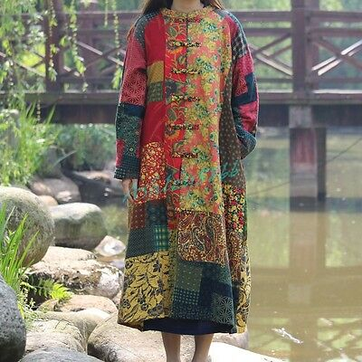 Cotton Ethnic Linen Folk Women Maxi Long Button Floral Loose Retro Dress Coats