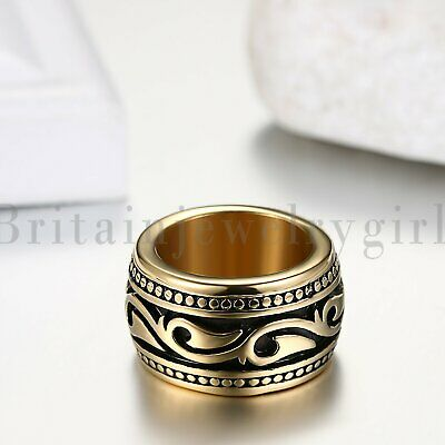 Stainless Steel Irish Celtic Gold Ring For Men Wide Wedding Band Size #7-11