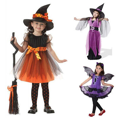 Kids Girls Witch Costume Cosplay Party Fancy Dress Up Hat Outfit Halloween Gown